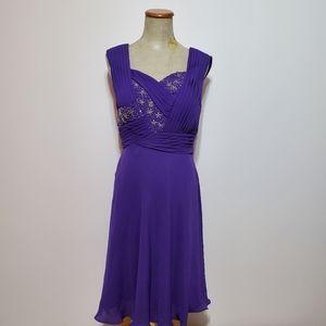 Purple fit and flare NWT beaded sleeveless Dress 8